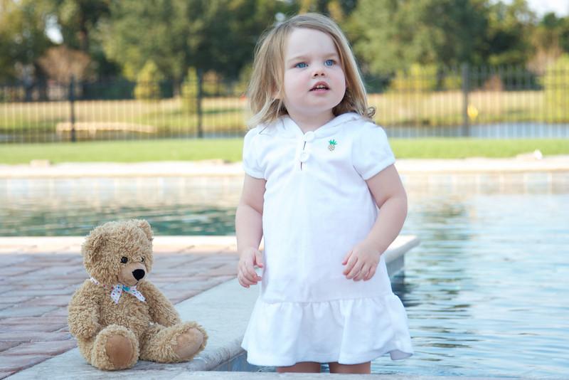 Bizzy Bear by Grandma's pool