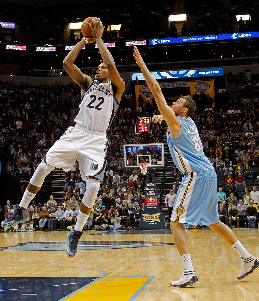 . Memphis Grizzlies forward Rudy Gay (22) shoots against Denver Nuggets forward Danilo Gallinari (8), of Italy, in the second half of an NBA basketball game on Saturday, Dec. 29, 2012, in Memphis, Tenn. The Grizzlies won 81-72. (AP Photo/Lance Murphey)
