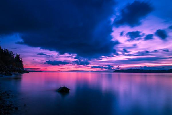 Sunset over Mukilteo Beach