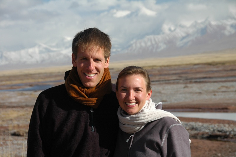 Audrey & Dan in Front of Pik Lenin, Kyrgyzstan