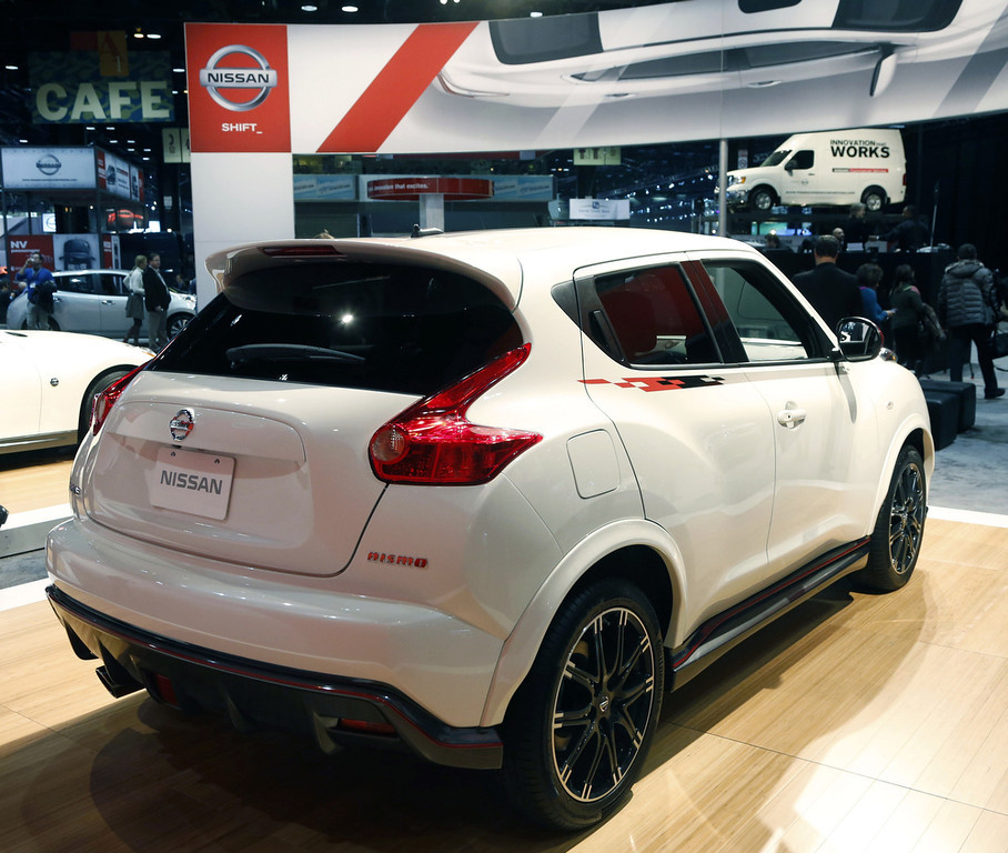 . The 2013 Nissan Juke Nismo is revealed at the Chicago Auto Show Thursday, Feb. 7, 2013, in Chicago. (AP Photo/Charles Rex Arbogast)
