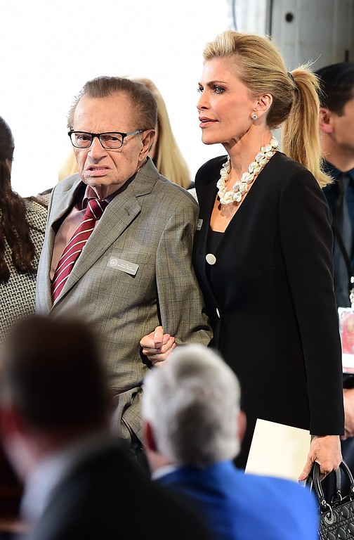 . Larry King and his wife Shawn King arrive for funeral services for former First Lady Nancy Reagan at the Ronald Reagan Presidential Library on March 11, 2016, in Simi Valley, California.  AFP PHOTO/FREDERIC J. BROWN/AFP/Getty Images