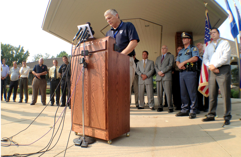 . Somber Mendota Heights Police Chief Mike Aschenbrener speaks about the shooting death of Officer Scott Patrick during a press conference outside Mendota Heights City Hall on Wednesday, July 30, 2014.  (Pioneer Press: Ben Garvin)