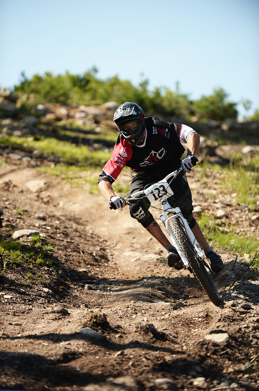 . WINTER PARK, CO. - July 26: Sean Shuman controls the bike during the first stage of First international Enduro World Cup Championship ever in U.S. at Winter Park, Colorado. July 26, 2013. (Photo By Hyoung Chang/The Denver Post)