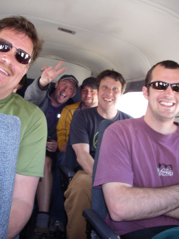 Day 3 - on the way to Chaiten in the little plane.  Here you can see Blake, Patrick, Sean, Paul and Jeff.  Blake, Sean and Paul were 3 of the other 4 clients on the trip.