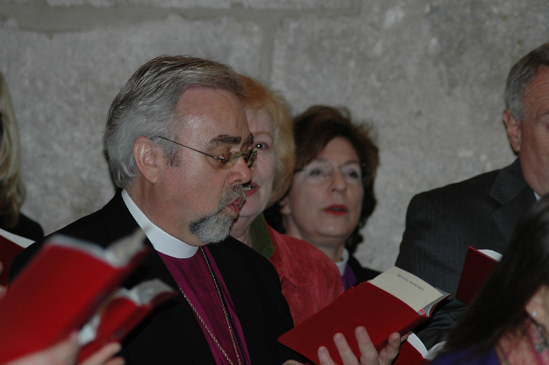 Bishop Dean Nelson, ELCA Southwest California Synod, sings at worship at the Church of the Holy Sepulchre, Jan. 9, in Jerusalem.