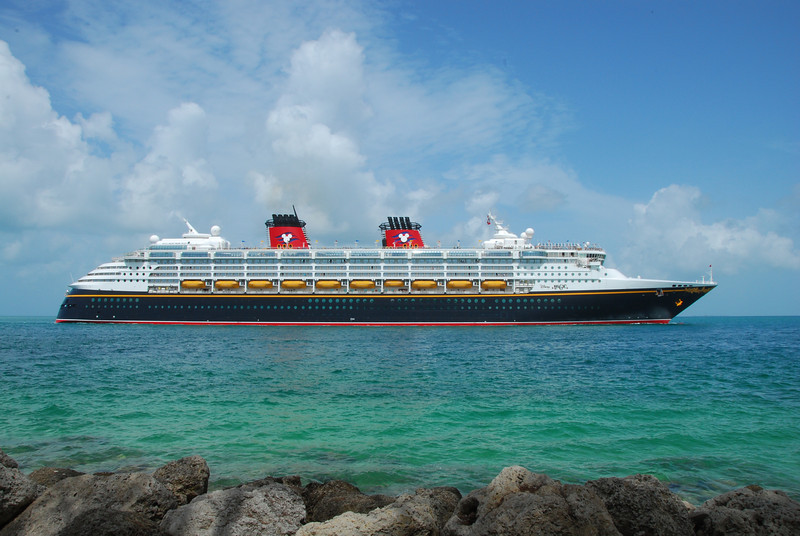 The cruise ship Disney Magic.  Check out the smoke stacks.
