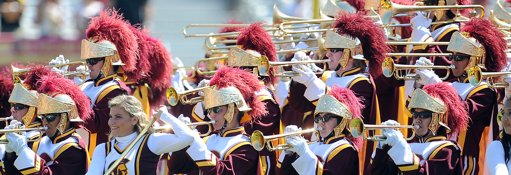 . The Southern California Trojan Marching band performs prior to a NCAA college football game against Boston College in the Los Angeles Memorial Coliseum in Los Angeles, on Saturday, Sept. 14, 2013.