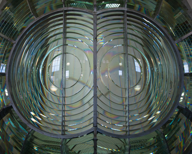 Bug eyes of the fresnel lens, no longer in use and on display in the museum below.