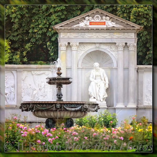 Grillparzer Memorial in the Vienna Rose Garden in the Volksgarten Franz Grillparzer was an Austrian poet, writer, and dramatist of the first half of the 19th century.  Many of his plays are still performed today.  The monument is from 1889.  The reliefs show scenes from his plays