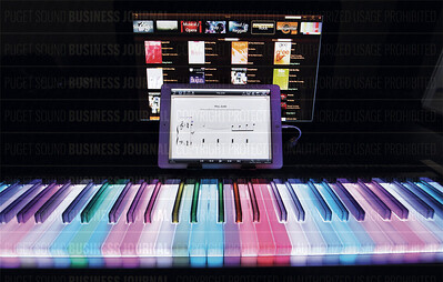 McCarthy Music's illuminated keyboard electronic midi controller, or piano, guides music student through learning how to play songs