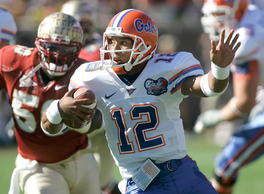 . Chris Leak, Florida: Urban Meyer inherited Leak in 2005. He didn�t perfectly fit the spread offense Meyer used because Leak wasn�t much of a runner. But Leak had two good seasons under Meyer (43 touchdown passes, 63 percent completions), culminating with a national championship in 2006. That season Leak handled most of the quarterback duties, but the freshman Tebow complemented him as a running threat. Pro career: Signed as an undrafted free agent in 2007 by the Chicago Bears, Leak never played in a regular-season NFL game. (Associated Press file)