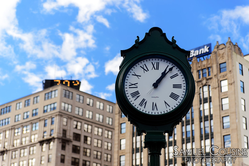 The old clock near Monument Square has been refurbished and reinstalled.