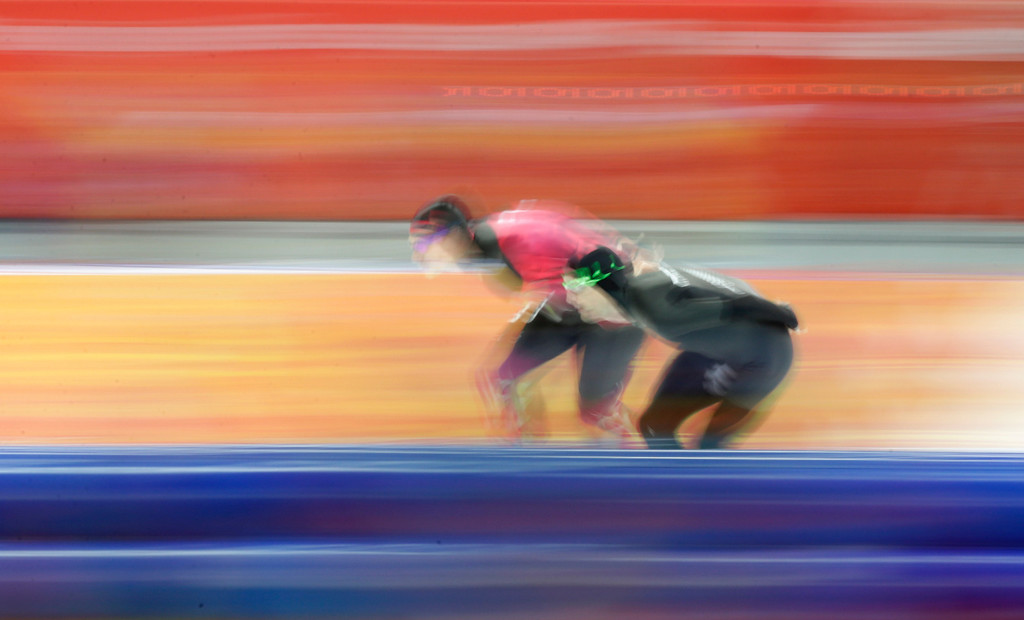 . Moritz Geisreiter of Germany, left, and Shane Dobbin of New Zealand compete in the men\'s 10,000-meter speedskating race at the Adler Arena Skating Center during the 2014 Winter Olympics in Sochi, Russia, Tuesday, Feb. 18, 2014. (AP Photo/Matt Dunham)
