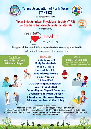 TANTEX & TIPS Health Fair - September 30th, 2018