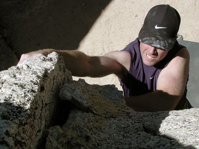 Terry Jackson on a rare day of bouldering at Horse Flats