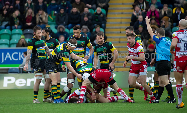 Northampton Saints vs Gloucester Rugby, Aviva Premiership, Franklin's Gardens, 6 January 2018