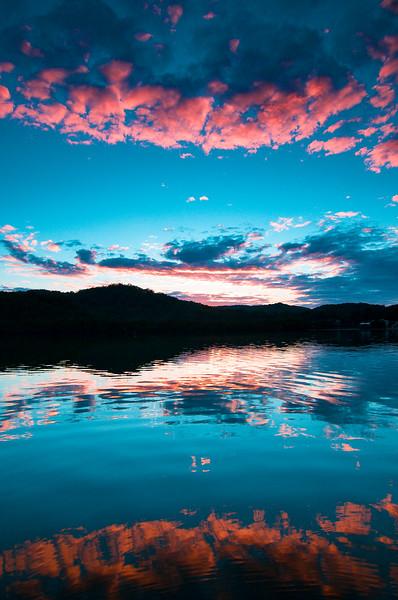 Magnificent Pink Cloud coastal sunrise seascape. Australia.