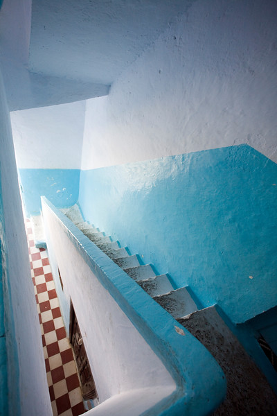 Staircase typically painted in blue, Chefchaouen, Morocco