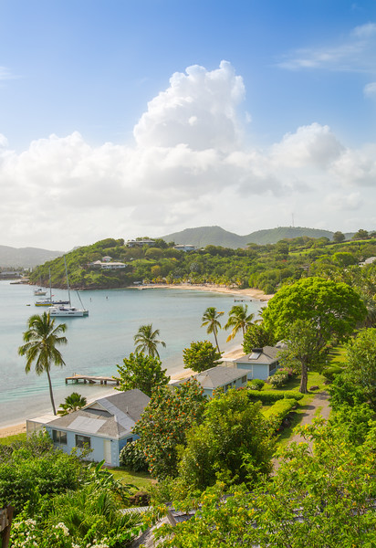 Antigua, Caribbean islands - May 20, 2017: English Harbour view with Galeon beach with yachts and sailing boats