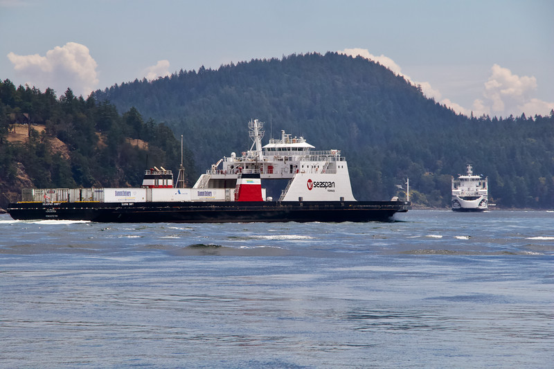 BC Ferry & Seaspan Ferry meet in Active Pass