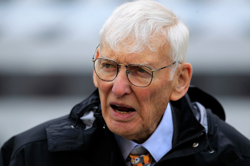 . FILE - In this Oct. 7, 2012, file photo Dan Rooney watches warm ups before an NFL football game between the Pittsburgh Steelers and Philadelphia Eagles in Pittsburgh. The Steelers announced Mr. Rooney died Thursday, Apr. 13, 2017. He was 84. (AP Photo/Gene J. Puskar, File)