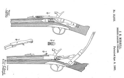 32,033 - Improvement in Breech-Loading Firearms, assigned to the Merrill Patent Firearms Mfg Co (April 9, 1861)