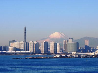 Skyline of Yokohama with Mount Fuji
