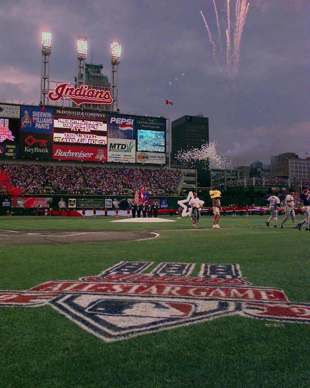 . Fireworks are seen over Jacobs Field prior to the start of the 68th All-Star Game Tuesday, July 8, 1997 in Cleveland. (AP Photo/Mark Duncan)