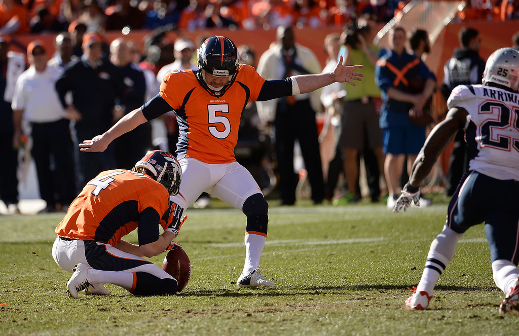 . Denver Broncos kicker Matt Prater (5) kicks a field goal to make it 3-0 in the first quarter. The Denver Broncos take on the New England Patriots in the AFC Championship game at Sports Authority Field at Mile High in Denver on January 19, 2014. (Photo by Hyoung Chang/The Denver Post)