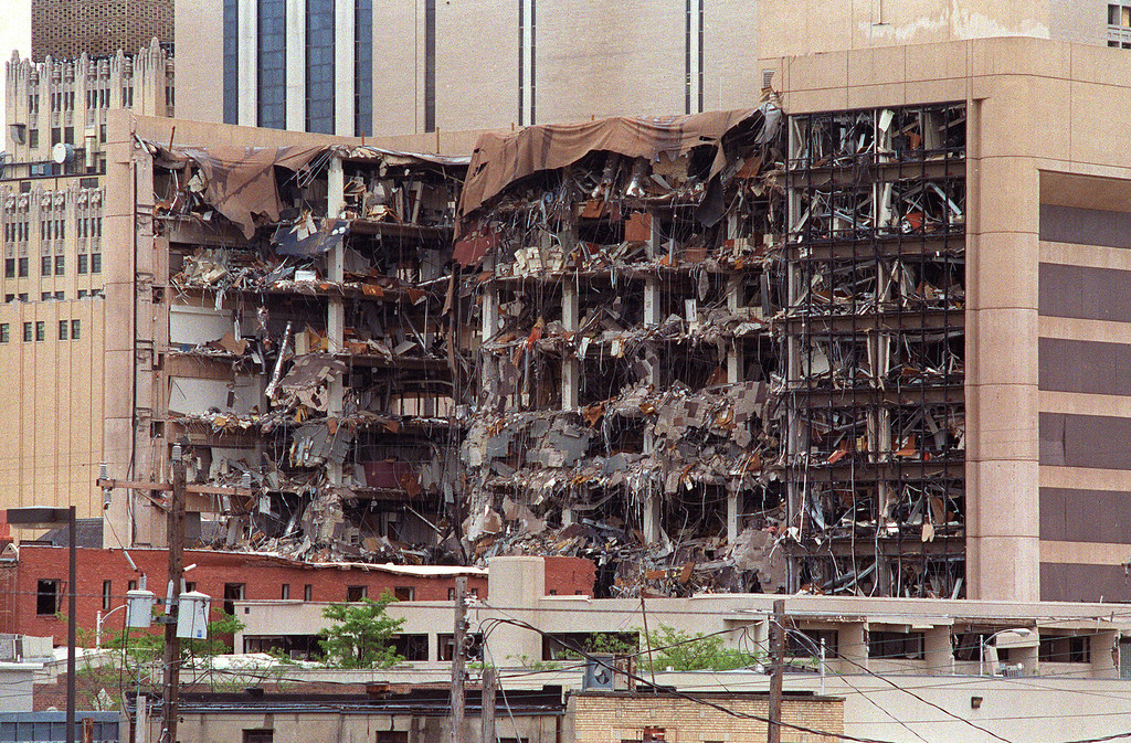 . FILE - This 19 April 1995 file photo shows the north side of the Albert P. Murrah Federal Building in Oklahoma City and the devastation caused by a fuel and fertilizer truck bomb detonated in front of the building. The blast, the worst terrorist attack on US soil, killed 168 people and injured more than 500. Timothy McVeigh, convicted on first-degree murder charges for the 19 April bombing was sentenced to death in 1997. Sunday, April 19, 2015, is the 20th anniversary of the Oklahoma City bombing.   (BOB DAEMMRICH/AFP/Getty Images)