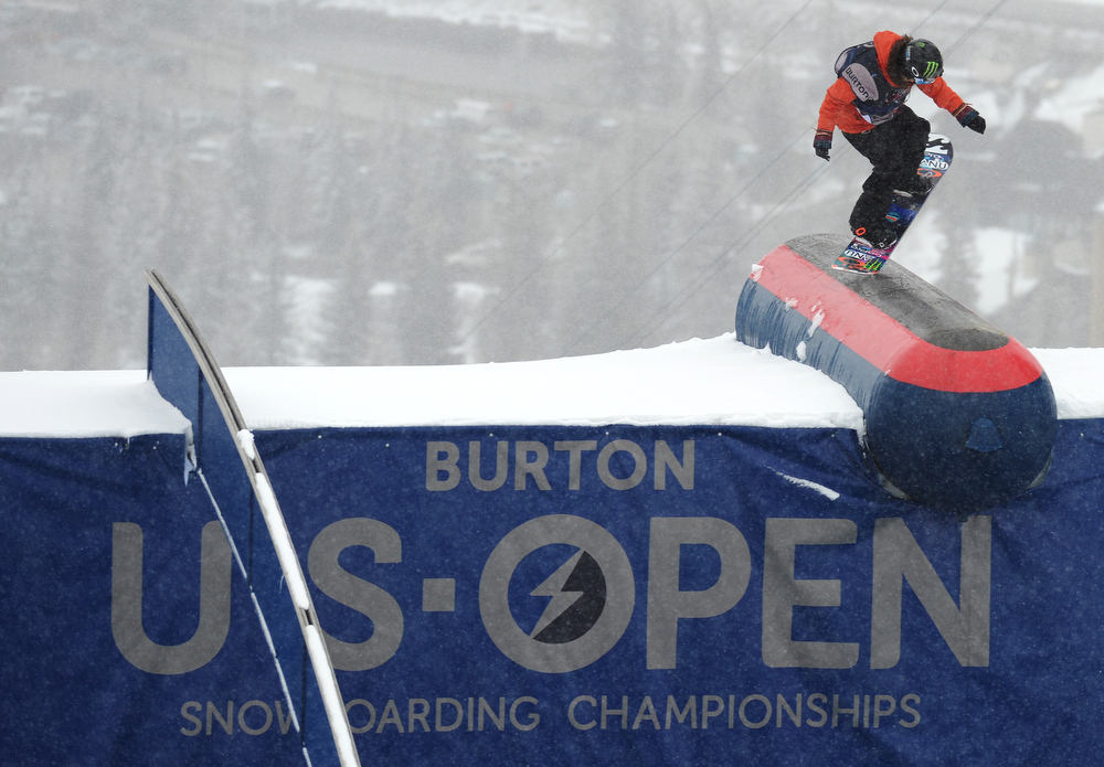 . Jamie Anderson is in action during the women\'s slope style final of the Burton U.S. Open. Vail, Colorado. March 7. 2014. Anderson won the final. (Photo by Hyoung Chang/The Denver Post)