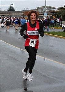 2003 Bazan Bay 5K - Laura Leno warms up on a cool day