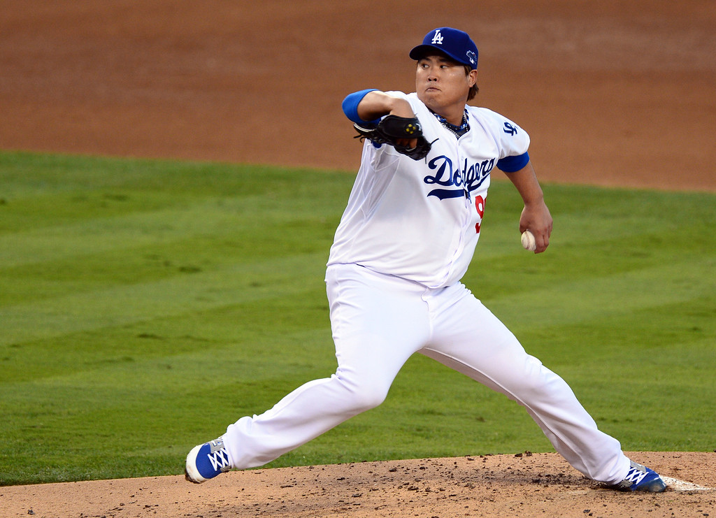 . Dodger pitcher Hyun-Jin Ryu during game 3 of the NLCS at Dodger Stadium Monday, October 14, 2013. The Dodgers beat the Cardinals 3-0. (Photo by Sarah Reingewirtz/Los Angeles Daily News)