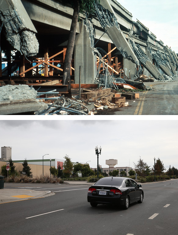 . OAKLAND, CA - OCTOBER 15:  In this before-and-after composite image, (Top) The collapsed upper deck of the Cypress viaduct of Interstate 880 after the Loma Prieta earthquake on October 17, 1989 in Oakland, California. (Photo by H.G. Wilshire/U.S. Geological Survey Photographic Library via Getty Images)   OAKLAND, CA - OCTOBER 15: (Bottom) A car drives along Mandela Parkway where the Cypress viaduct of Interstate 880 used to stand on October 15, 2014 in Oakland, California. It has been 25 years since the 6.9 Loma Prieta earthquake rocked the San Francisco Bay Area at 5:04 PM on October 17, 1989 causing widespread damage to buildings and roadways. 63 people died and nearly 4,000 were injured. (Photo by Justin Sullivan/Getty Images)
