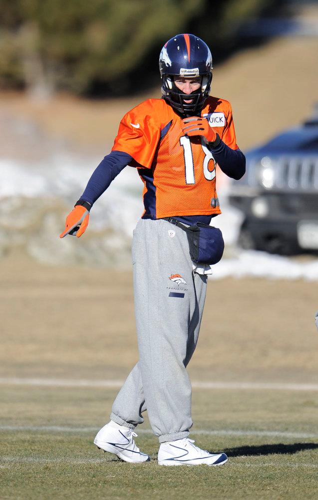 . Denver Broncos quarterback Peyton Manning (18) during  practice Thursday, January 3, 2013 at Dove Valley.  John Leyba, The Denver Post