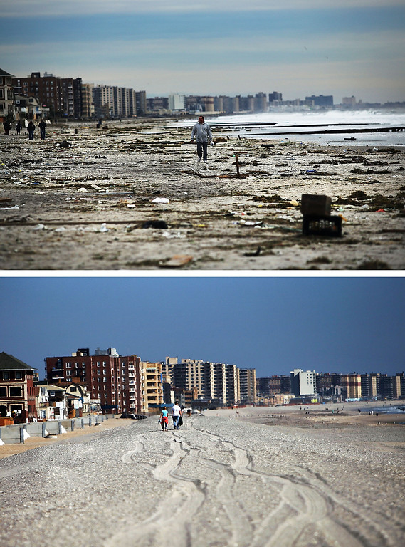 . NEW YORK, NY - NOVEMBER 2:  (top) A man walks along the heavily damaged beach on November 2, 2012 in Rockaway neighborhood of the Queens borough of New York City.  NEW YORK, NY - OCTOBER 23:  (bottom)  People walk down the beach on October 23, 2013 in Rockaway neighborhood of the Queens borough of New York City. Hurricane Sandy made landfall on October 29, 2012 near Brigantine, New Jersey and affected 24 states from Florida to Maine and cost the country an estimated $65 billion.  (Photos by Spencer Platt/Getty Images)