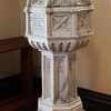 West proch Baptismal font which survived the 4th church fire in 1849