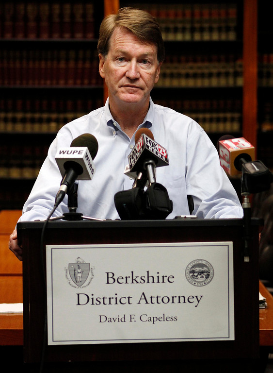 . District Attorney David Capeless holds a press conference announcing that the remains of 44 year old David Glasser, 58 year old Edward S. Frampton and 47 year old Robert T. Chadwell, all of Pittsfield, were discovered in Berkshire County yesterday and continue to be recovered today. Sun September 11, 2011 (ZOLLSHAN)