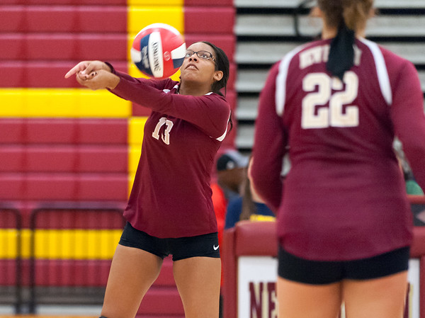 09/25/18 Wesley Bunnell | Staff New Britain girls volleyball was defeated by Simsbury on Tuesday night at New Britain High School. Abria McDonald (13).