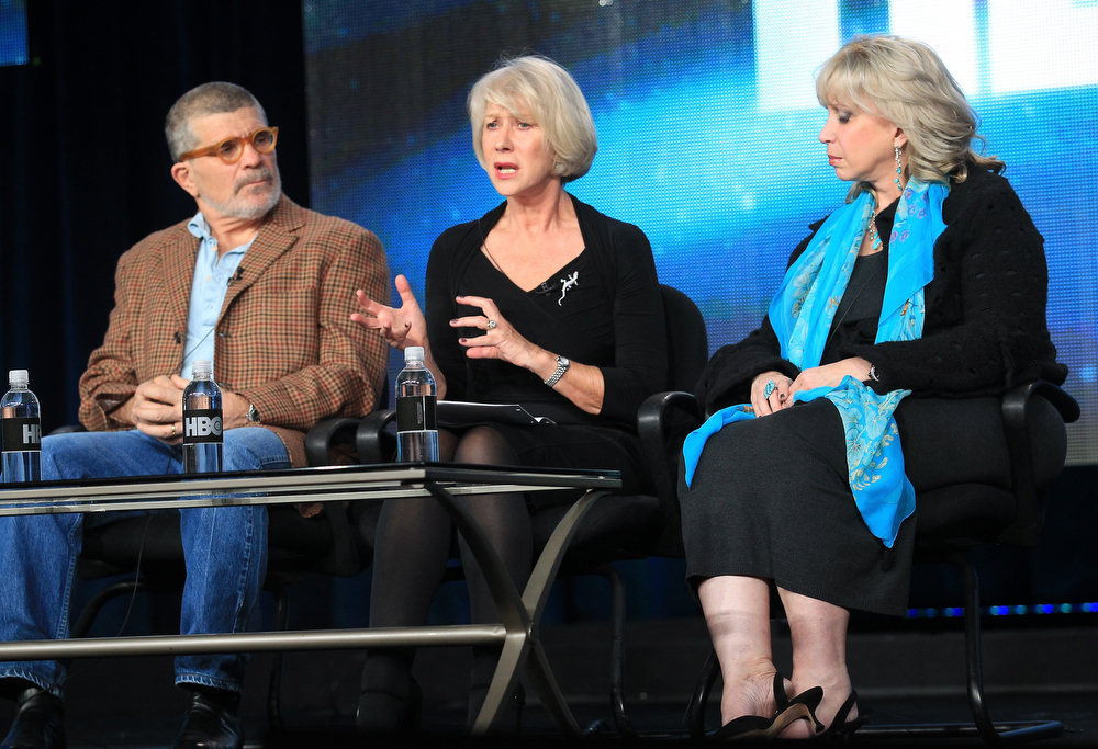 Description of . Writer, Director, Executive Producer David Mamet, actress Helen Mirren, and consultant Linda Kenney Baden speak onstage during the