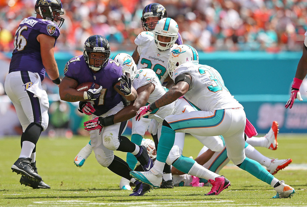 . Ray Rice #27 of the Baltimore Ravens rushes during a game against the Miami Dolphins at Sun Life Stadium on October 6, 2013 in Miami Gardens, Florida.  (Photo by Mike Ehrmann/Getty Images)