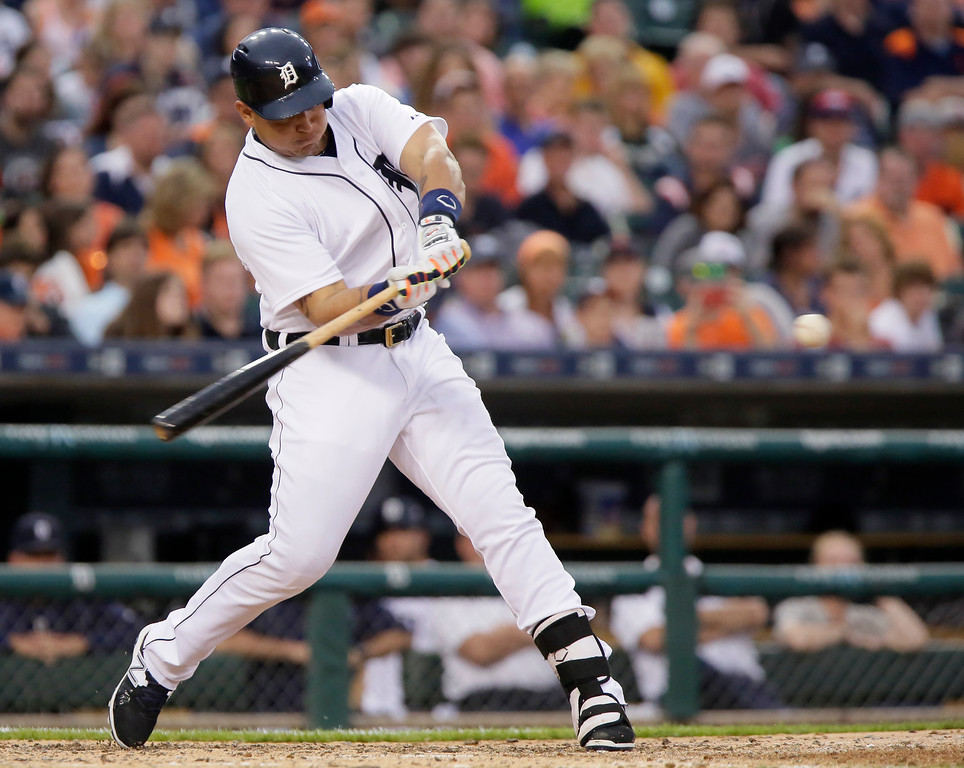 . Detroit Tigers\' Miguel Cabrera hits a three-run home run against the Cleveland Indians during the sixth inning of a baseball game Friday, June 12, 2015, in Detroit. (AP Photo/Duane Burleson)