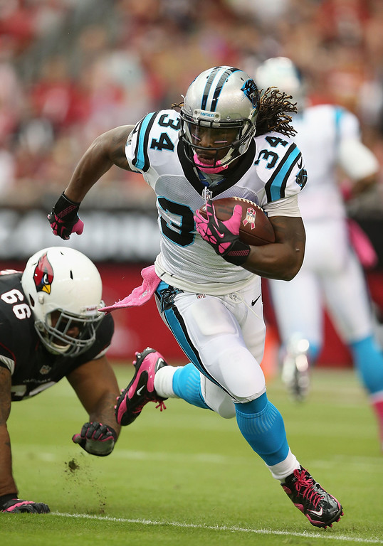 . Running back DeAngelo Williams #34 of the Carolina Panthers rushes the football past nose tackle Alameda Ta\'amu #66 of the Arizona Cardinals during the first quarter of the NFL game at the University of Phoenix Stadium on October 6, 2013 in Glendale, Arizona.  (Photo by Christian Petersen/Getty Images)