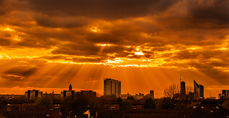 Bermondsey sunset, South London