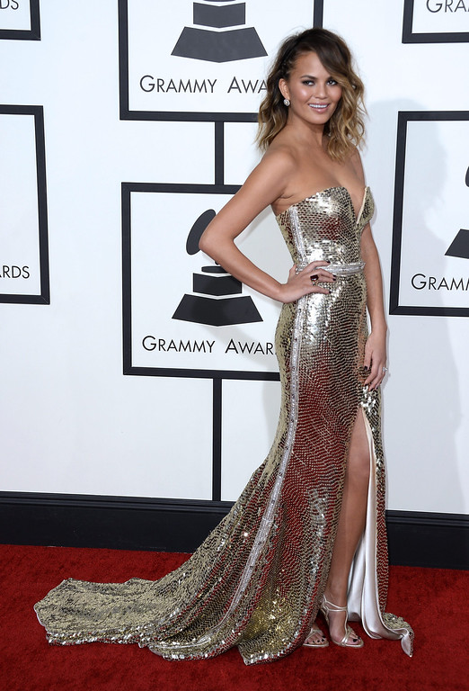 . U.S. model Chrissy Teigen arrives for the 56th annual Grammy Awards held at the Staples Center in Los Angeles, California, USA, 26 January 2014.  EPA/MICHAEL NELSON