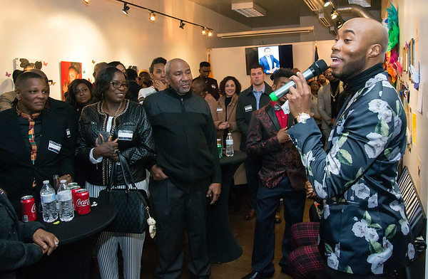 02/28/20 Wesley Bunnell | StaffrrTwenty five men were honored at Gallery 66 on Friday night for their involvement in the community as part of Black History Month. John &quote;Tang-Sauce&quote; Manselle-Young, R, addresses the crowd.
