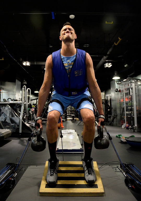 . Denver Nuggets Danilo Gallinari grimaces during his rigorous workout May 27, 2014 at Pepsi Center. (Photo by John Leyba/The Denver Post)