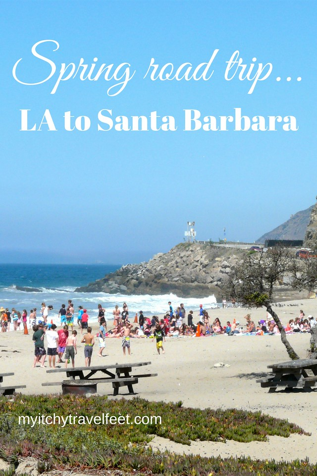 Spring road trip itinerary on the California coast from LA to Santa Barbara and back to LA.