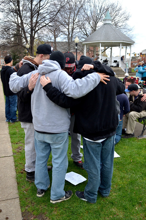 . Jeff Forman/JForman@News-Herald.com Participants in a National Day of Prayer observance break into small prayer groups near the end of the event May 1 in Painesville.